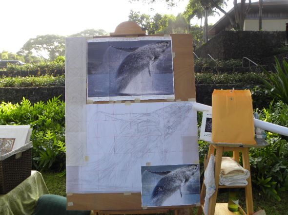 whale painting begins